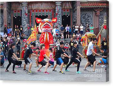 Canvas Print featuring the photograph Religious Martial Arts Performance In Taiwan by Yali Shi