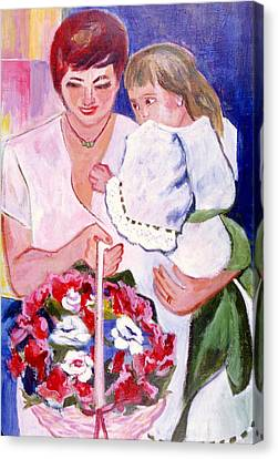 Canvas Print featuring the painting Reluctant Flower Girl by Betty Pieper