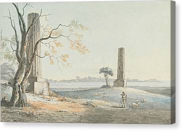 Remains Of The Temple Of Olypian Jove With A View Of Ortygia, Syracuse Canvas Print by Henry Tresham