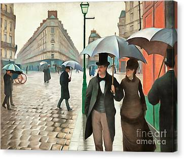 Vintage Painter Canvas Print - Remastered Gustave Caillebotte Paris Street Rainy Day 20170408 by Wingsdomain Art and Photography