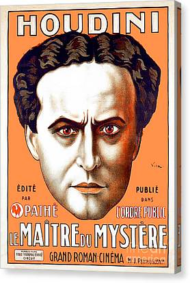Canvas Print featuring the photograph Remastered Nostagic Vintage Poster Art Houdini Master Of Mystery by Wingsdomain Art and Photography