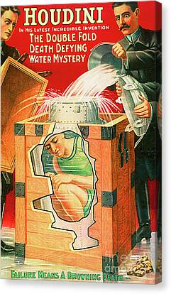 Canvas Print featuring the photograph Remastered Nostagic Vintage Poster Art Houdini The Double Fold Death Defying Water Mystery 20170415 by Wingsdomain Art and Photography