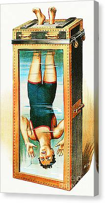 Canvas Print featuring the photograph Remastered Nostagic Vintage Poster Art Houdini Water Filled Torture Cell 20170415 Notext by Wingsdomain Art and Photography