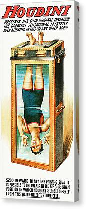 Canvas Print featuring the photograph Remastered Nostagic Vintage Poster Art Houdini Water Filled Torture Cell 20170415 by Wingsdomain Art and Photography