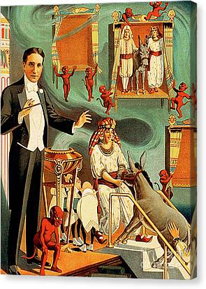 Canvas Print featuring the photograph Remastered Nostagic Vintage Poster Art Thurston The Great Magici by Wingsdomain Art and Photography