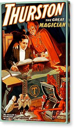Canvas Print featuring the photograph Remastered Nostagic Vintage Poster Art Thurston The Great Magician 20170415 by Wingsdomain Art and Photography