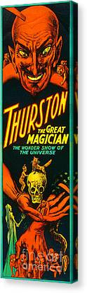 Canvas Print featuring the photograph Remastered Nostagic Vintage Poster Art Thurston The Great Magician Wonder Show 20170415 V2 by Wingsdomain Art and Photography