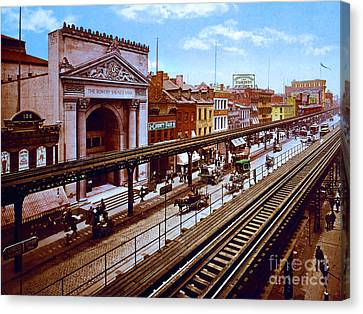The Bowery Canvas Print - Remastered Photograph Bowery Savings Bank New York City 1898 20170716 by Wingsdomain Art and Photography