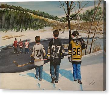Hockey Canvas Print - Rematch 2008 by Ron  Genest