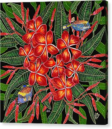 Tropical Fish Plumerias Canvas Print