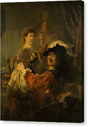 Rembrandt And Saskia In The Scene Of The Prodigal Son Canvas Print by Rembrandt