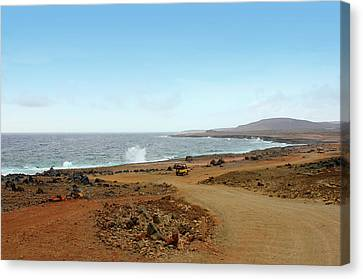 Remote Beach And Waves Off Coast Of Aruba Canvas Print