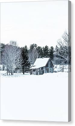 Remote Cabin In Winter Canvas Print by Edward Fielding
