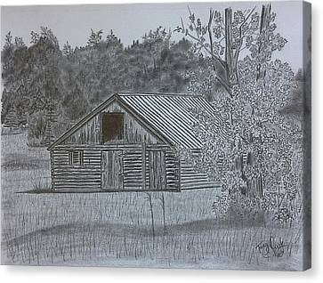 Old Cabins Canvas Print - Remote Cabin by Tony Clark