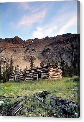 Old Cabins Canvas Print - Remote by Leland D Howard