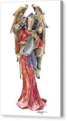 Lute Canvas Print - Renaissance Angel by Claudia Hafner
