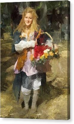 Canvas Print featuring the digital art Renaissance Flower Lady by Francesa Miller