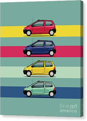 Indian Yellow Canvas Print - Renault Twingo 90s Colors Quartet by Monkey Crisis On Mars