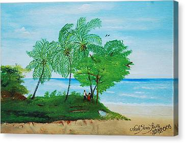 Canvas Print featuring the painting Rendez-vous By The Beach by Nicole Jean-Louis