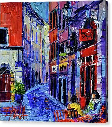 Rendez Vous In Vieux Lyon Canvas Print by Mona Edulesco