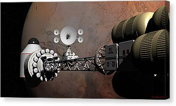 Canvas Print featuring the digital art Rendezvous At Mars by David Robinson