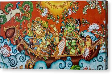 Rendezvous On The Lake - Kerala Mural Painting Canvas Print by Devaki Mulanjur