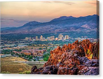 Reno Nevada Cityscape At Sunrise Canvas Print