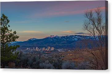 Reno Sunrise Natural Frame Canvas Print