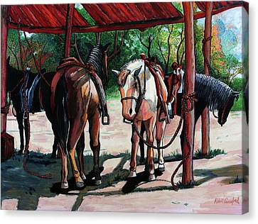 Horse Stable Canvas Print - Rent A Horse by Bob Crawford