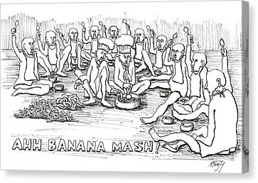 Canvas Print featuring the drawing Repast by R  Allen Swezey