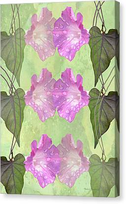 Repeated Morning Glories Canvas Print by Rosalie Scanlon