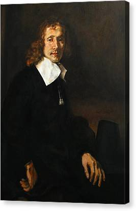 Replica Of Rembrandt's Young Man Seated At A Table Canvas Print by Tigran Ghulyan