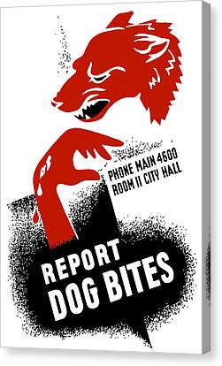 Canvas Print featuring the mixed media Report Dog Bites - Wpa by War Is Hell Store