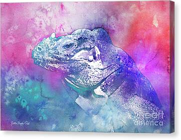 Canvas Print featuring the mixed media Reptile Profile by Jutta Maria Pusl
