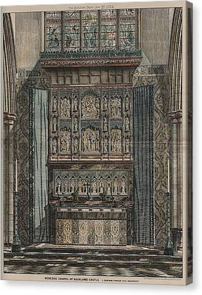 Reredos Chapel Of Aukland Castle 1884 Canvas Print by Dodgson Fowler