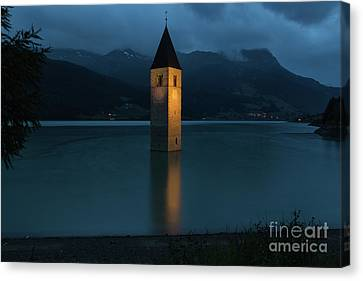 Reschensee By Night Canvas Print