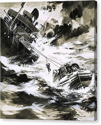 Coastguard Canvas Print - Rescue At Sea by Wilf Hardy