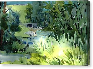 Reservoir Anglers Framed Mated Glassed Canvas Print