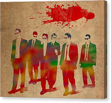Reservoir Dogs Movie Minimal Silhouette Watercolor Painting Canvas Print