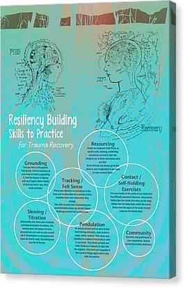 Resiliency Building Skills - Blue Canvas Print by Heidi Hanson