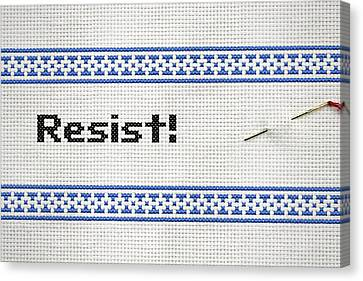 Resistance Cross Stitch Canvas Print