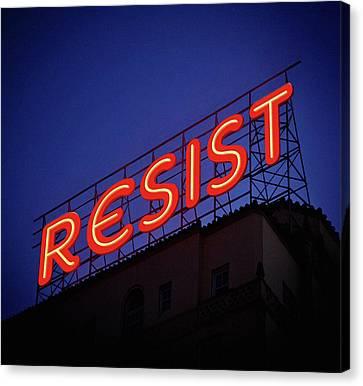 Resistance Neon Lights Canvas Print