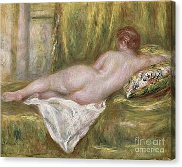 Woman Nude Canvas Print - Rest After The Bath by Pierre Auguste Renoir