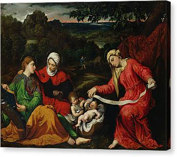 Rest On The Flight Into Egypt Canvas Print by Paris Bordone
