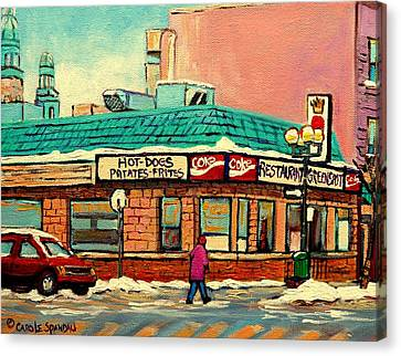 A Hot Summer Day Canvas Print - Restaurant Greenspot Deli Hotdogs by Carole Spandau