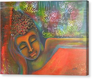 Canvas Print featuring the painting Buddha Resting Against A Colorful Backdrop by Prerna Poojara