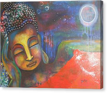 Canvas Print featuring the painting Buddha Resting Under The Full Moon  by Prerna Poojara