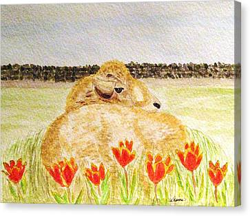 Resting In The Tulips Canvas Print by Angela Davies