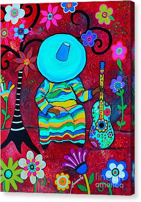 Canvas Print featuring the painting Resting Mariachi by Pristine Cartera Turkus