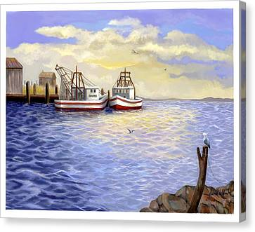 Canvas Print featuring the painting Resting Nets by Sena Wilson
